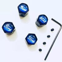 X4 BLACK FORD FOCUS ST RS TYRE CAPS DUST ANTI LOCKING SET VALVE CAR 🇬🇧 Seller