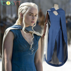 Dragon Mother Daenerys Targaryen Cosplay Costumes Blue Dress