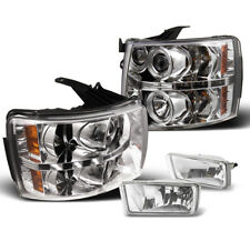 2007-2012 CHEVY SILVERADO CHROME PROJECTOR HALO LED HEADLIGHT+LOWER FOG LAMP SET