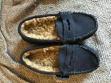 boys moccasins slippers leather size 10 christmas soft warm blue hard bottoms