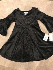 NWT Girls Bonnie Jean Black Crushed Velvet Christmas Dress Size 8 Winter