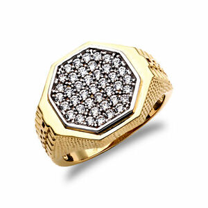Mens 9ct Gold CZ Pave Octagon Cluster Signet Ring