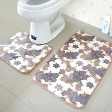 2Pcs Anti Shower Mat Rug Door Non-Slip Floor Carpet Bathroom Toilet Bath