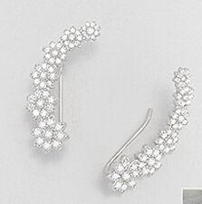 "0.9/"" Solid Sterling Silver Olive Branch CZ Ear Cuff CRAWLER Dangle Hook Earrings"