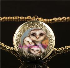 Owls Bird Cabochon LOCKET Pendant Gold Chain Necklace USA Shipper #101