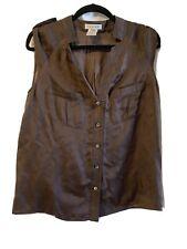 Celine Brown Brown Silk top Blouse 40 Sleeveless wrap Beautiful!