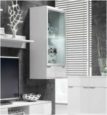 Aspire White Gloss Wall Mounted LED Display Cabinet Glass Shelving  Unit  S08