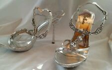 Celeste Silver Jeweled Rhinestone Ladies Heels Sz 8.5  Worn 1X