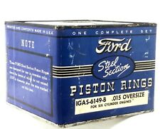 NOS Ford Steel Section Piston Rings Set .015 Oversize UNOPENED 6 Cylinder 1930s