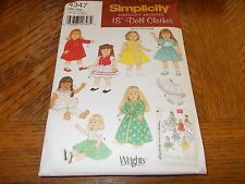 """Simplicity Pattern 4347~18"""" Doll Clothes~ ARCHIVES~ Coats, Dresses, More VINTAGE"""