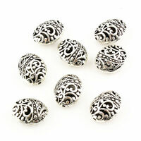 10Pcs Tibetan Silver Ellipse Shaped Hollow Charm Spacer Bead DIY Jewelry Making