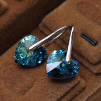 Fashion Jewelry Crystal Rhinestone Love Heart Ear Hoop Huggie Earrings Gift
