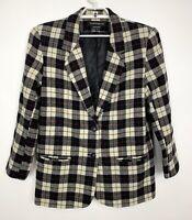 Vintage 80s Donnybrook Size 9 10 Wool Blazer Cream Black Red Tartan Plaid Jacket