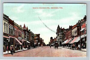 Oshkosh WI, Main & Waugoo Streets, Vintage Wisconsin Postcard