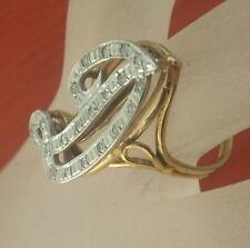 14K Gold Lady's D Initial Full-set 20 Natural Diamonds Ca.0.2 Ct. DWT  Sz.6 ,75