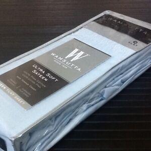 Light Blue Wamsutta Ultra Soft 525 TC 100% Pima Cotton Sateen QUEEN Flat Sheet