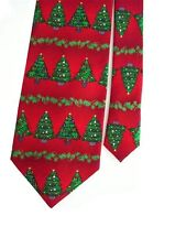 "Men's Poly Neck Tie In Red & Green Christmas Trees 3 7/8"" x 58"""