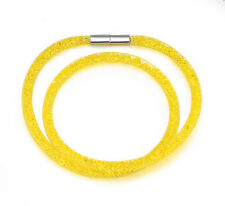 Made With Swarovski Crystal ELEMENTS Thin Mesh Stardust Magnetic Bracelet Yellow
