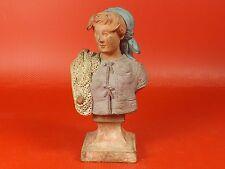 Sculpture. Terre Cuite Polychrome, Femme de Pêcheur signée COLLOT. XVIIIe siècle