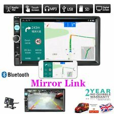 "7"" Double 2DIN Car Player Stereo FM Radio GPS Sat Nav Bluetooth USB AUX + Camera"