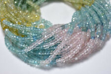 MULTI COLOR AQUAMARINE 4MM FACETED RONDELLE GEMSTONE BEADS 13 INCH STRAND