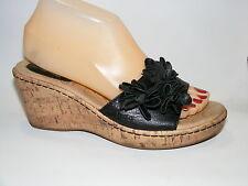 Born BOC Women's Shoes 7 M Black Leather Wedges Slides Mules Heels Sandal Floral