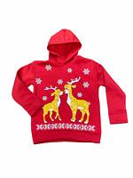 Kids Christmas Hoody Hoodie New Boys Girls Xmas Reindeer Jumper Top 2 - 13 Yrs