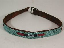 ca1890's NATIVE AMERICAN CROW INDIAN BEAD DECORATED HARNESS LEATHER BELT