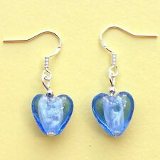 Blue Glass Heart Earrings Sterling Silver Hooks New Pair Drops Dangly LB98