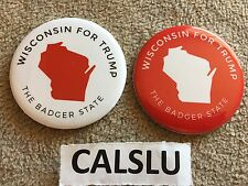 LOT OF (2) DONALD TRUMP ☆OFFICIAL☆ WISCONSIN ☆CAMPAIGN RALLY☆ PIN BACK BUTTONS
