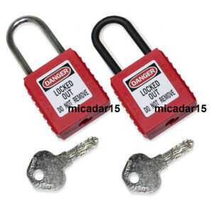 Safety Lock Out Padlock - Metal or Nylon Plastic Shackle - Lockout Tagout LOTO