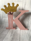 Freestanding personalised letters, glittered crown, flower letters, bedroom deco
