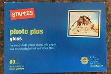 "Staples Photo Plus Glossy InkJet Paper- 60 Sheets  4"" x 6""-MIP-ITEM 648177"