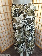 Hot Cotton Capri Cropped Linen Blend Elastic Waist Casual Pants Womens Size L