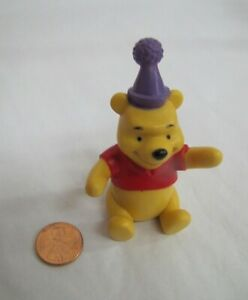 """BIRTHDAY PARTY WINNIE THE POOH 3"""" Cake Topper Figure 100 Acre Woods Disney Fun!"""