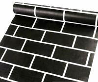 3D Black Brick Wall Sticker Self-adhesive Waterproof Wallpaper Decor Home Vinyl