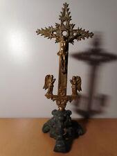 Crucifix ancien bronze croix Jesus Christ ange objet culte autel église