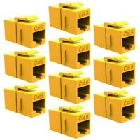 10x Cat6 RJ-45 Network LAN Ethernet Keystone Jack Inline Coupler Snap-In Yellow