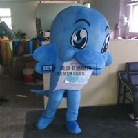 Blue Dolphin Mascot Costume Suit Cosplay Party Game Dress Outfit Halloween Adult