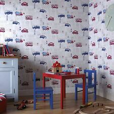 MOTOR MANIA BLUE & RED WALLPAPER - ARTHOUSE 533501 - CAR BUS TRUCK