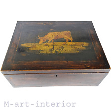Antike Schatulle Holzkasten mit Malerei wooden box with painting England 1840-60