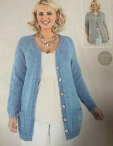 """Ladies Long Cardigan DK Size: 32""""-54""""  Vintage Knitting Pattern  L64"""