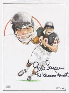 GALE SAYERS Kansas Comet Signed Autograph 8.5x11 Lithograph Chicago Bears JSA