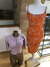 Vintage Karen Millen Orange Strappy Dress W Lilac Suede Jacket Size 8 Shoes 37
