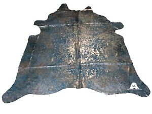 """Silver Acid Washed On Turquise Cowhide - (XL7'5""""x6'5"""" Ft) - Premium Cowhide Leat"""