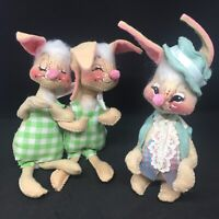 Vintage Annalee Rabbits 1965 1971 Lot Of 3 Poseable Bunny Easter