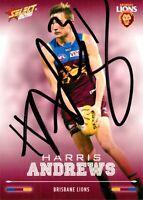 ✺Signed✺ 2016 BRISBANE LIONS AFL Card HARRIS ANDREWS