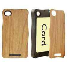 For iPhone 4 4S - HARD RUBBER ID CARD HOLDER SKIN CASE BROWN BLACK WOOD OAK TREE