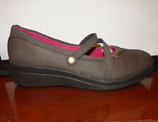 CROCS PATRICIA Womens 9 Brown Leather Mary Jane Wedge Slip On Comfort Shoes