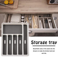 6 Compartments Cutlery Tray Kitchen Drawer Organizer Spoon Knife Separation B LD